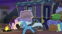 Trixie runs off with pillow and blanket S8E19