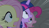 Twilight, Fluttershy, and Pinkie in utter shock S5E1