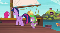 Twilight and Spike walking to the boat S6E22