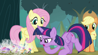 Twilight looking closely at the Breezies S4E16