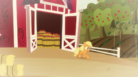 Young Applejack runs out of the barn S9E10