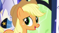 Applejack -everypony take one of their own decorations out- S5E3