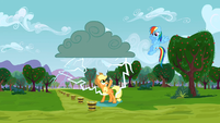 Applejack about to get struck by lightning S3E8