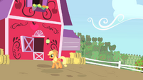 Applejack walking by her barn S01E25