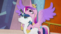 Cadance outstretches her wings on Shining Armor's back BFHHS5.png