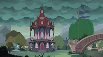 Fantasy Ponyville with storm clouds in the sky S7E23