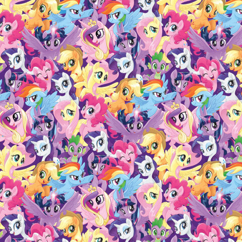File:My Little Pony The Movie pony crowd woven cotton fabric by Etsy.jpg