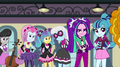 Octavia, Photo Finish, and Dazzlings stare at the Rainbooms EG2.png