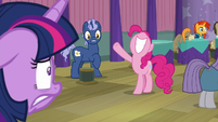 Pinkie accidentally knocks over a table S9E16