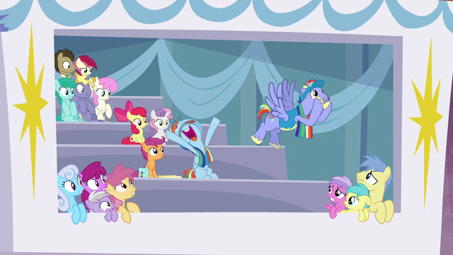 File:Ponies in private box back away from Bow and Windy S7E7.png