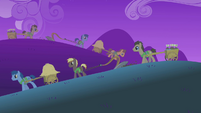 Ponies working in the fields at nighttime S01E11
