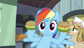 Rainbow holding up oat burgers S4E22.png