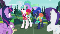 Twilight, Spike, and Rarity gasp at princesses S9E13
