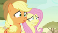 AJ and Fluttershy disturbed by Ticket Pony S8E23.png