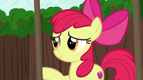 Apple Bloom nudging the rickety cart S6E14