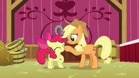 Applejack boops Apple Bloom's nose S9E10