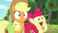 Applejack stunned; Apple Bloom gasping S9E10