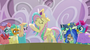 Fluttershy making a regal pose S8E7
