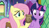 Fluttershy with a bag of cauliflower bites S7E20