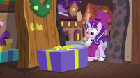 Large gift box drops in front of Snowfall Frost S6E8