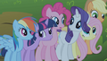 Mane 6 hearing someone crying S1E02.png