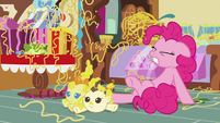 Pinkie Pie hoof-kicking against the Cake twins S7E19
