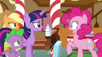 Pinkie Pie startled to see her friends S6E15