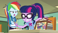 Rainbow Dash trying to get Twilight's attention EGDS22