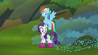 Rainbow and Rarity reach end of the trail S8E17