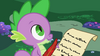 Spike writing a letter to Princess Celestia S02E10