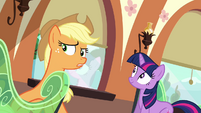 Applejack hears Spike's stomach growling S03E11