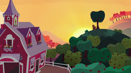 Big Mac and Apple Bloom laughing while watching the sunset S5E17