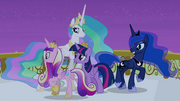 Celestia, Luna, and Cadance circling around Twilight S4E25