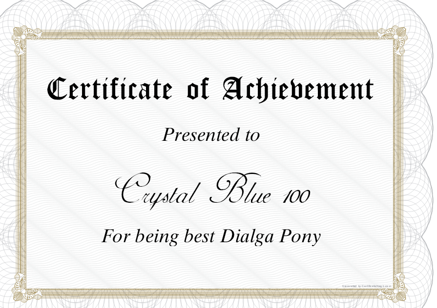 Image Certificate For Crystalg My Little Pony Friendship Is