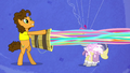 Cheese launches streamers onto the pony's face S4E12.png