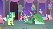 Sandbar and Yona do the pony cotillion S9E7