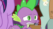 Spike continues to observe Celestia's workshop S8E7