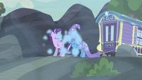 Starlight and Trixie choking on blue smoke S6E25