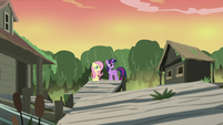 Twilight and Fluttershy in the abandoned village S7E20
