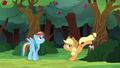 Applejack bucking the apple tree again S6E18.png