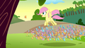 Filly Fluttershy flying above the butterflies S1E23.png