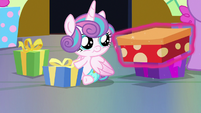 Flurry Heart looking at a gift box S7E3