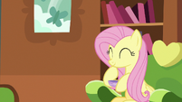 Fluttershy amused by Discord's excitement S7E12