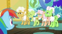 Gold Horseshoe Gals complain to Rainbow Dash S8E5