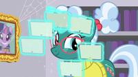 Librarian Pony levitating catalog cards S9E5