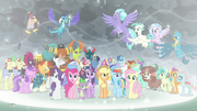 Mane Six and many friends in a magic bubble S9E25