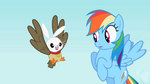 Rainbow Dash sees the owl and bunny hybrid S2E07