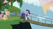 Rarity e Fluttershy atravessando uma ponte T4E03