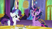Rarity removes pancake from Twilight's horn S5E3