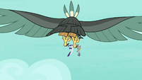 Roc flying away with Rarity and Zecora S8E11